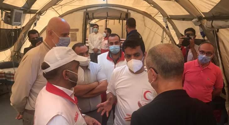 رئيس اتحاد بلديات الضاحية ورئيس بلدية الحدت يزوران المستشفى الميداني الايراني