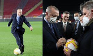 """أردوغان ينفذ ركلة جزاء بـ""""رؤية مسعود أوزيل"""""""