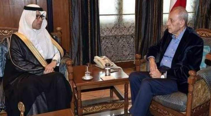 رئيس مجلس النواب نبيه بري يلتقي السفير السعودي في لبنان وليد البخاري